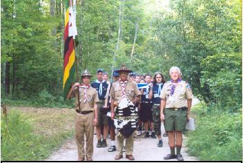 Joe and Norman lead Cheppewa Troop from our campsite to the opening parade
